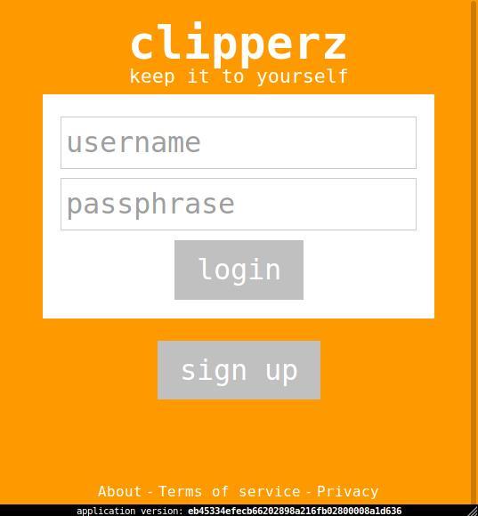 Clipperz login